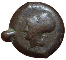 Ancient Greek - Sicily, Syracuse, Dionysos I, c. 405-367 BC - Æ Drachm (33/30mm; 33.96gm) - Head of Athena / Sea-star and dolphins - SNG Cop. 720