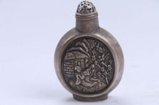 Tibetan silver - antique collectible snuff bottle - China - post 1940
