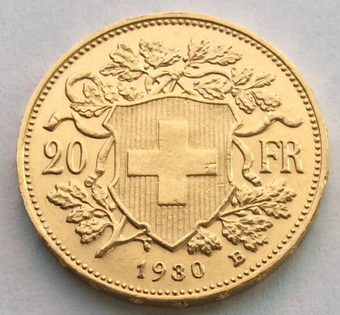 Switzerland - 20 francs 1930 B 'Vreneli' - gold