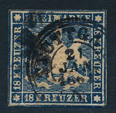 Old Germany Württemberg - 1859 - 18 Kreuzer blue coat of arms, thick paper without silk thread, Michel 15