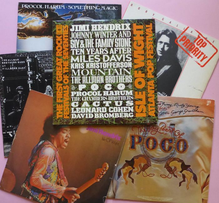 Isle of Wight Festival triple album, plus five albums of artist that played Wight, including 2 doubles (10 lp's total)
