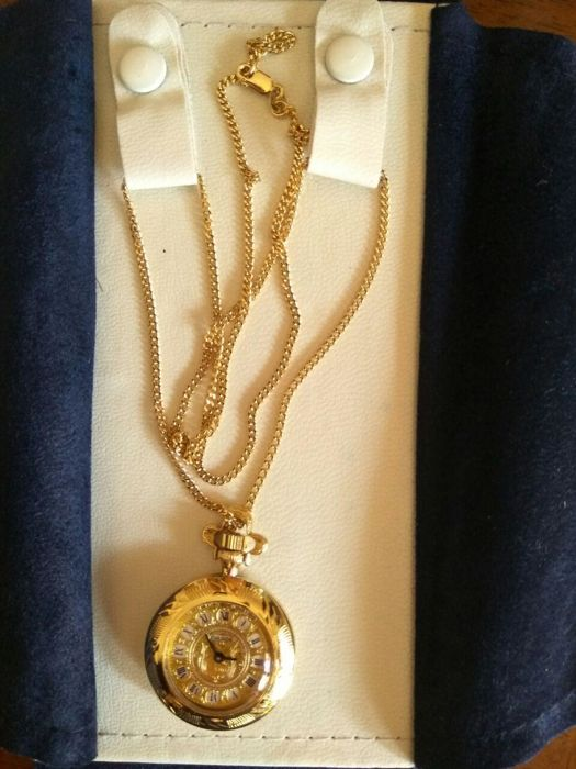 lucky charm necklace with pocket watch pendant, vintage, in 18 kt (750/1000) gold