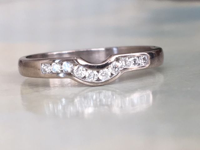 18 kt white gold women's stacking ring with a total of approx. 0.10 ct brilliant cut diamonds, G/VVS - ring size 17.50 mm