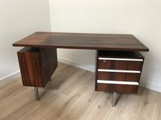 Manufacturer unknown - rosewood desk on metal legs