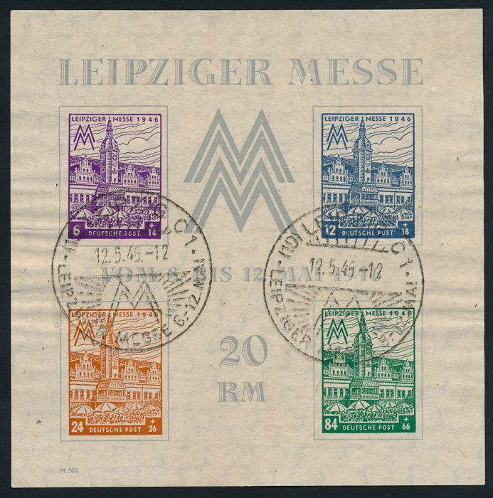 "Soviet zone - 1946 - ""Leipzig Trade Fair block issue with watermark X steps levelling off - Michel block 5 X"