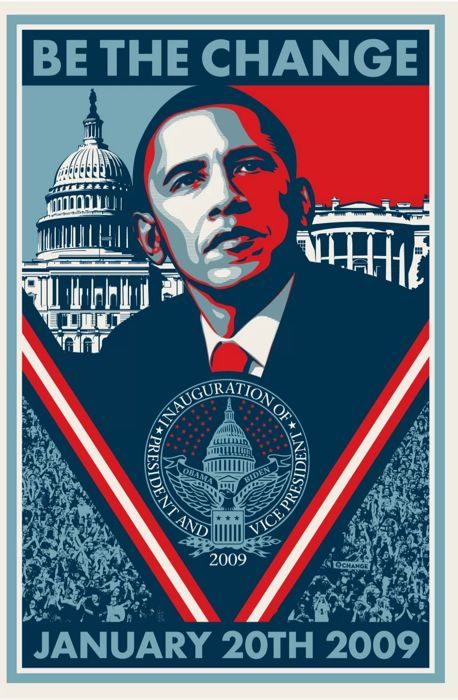 """Shepard Fairey (OBEY) - Obama """"Be the Change"""""""