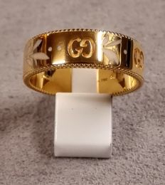 Gucci ring, Icon Blossom line, 6 mm, in 750/1000 yellow gold and enamel - Size 16