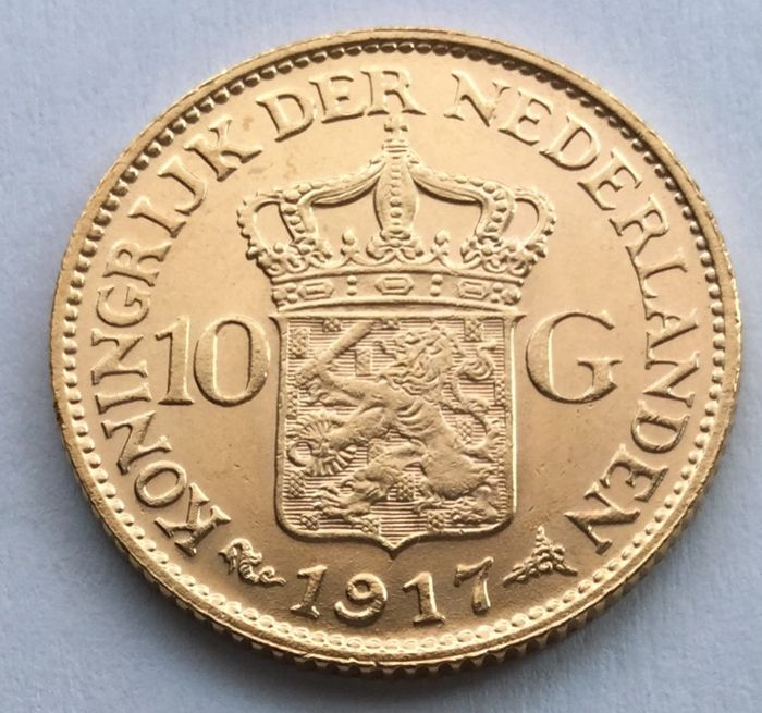 Netherlands – 10 guilder 1917 – Wilhelmina – gold