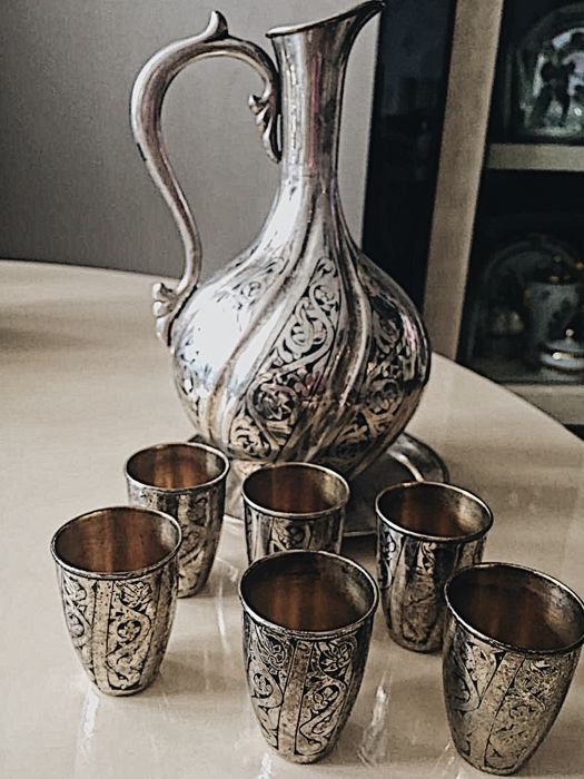 Antique Silver Jar with 6 vodka glasses from USSR, since 1958