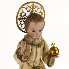 Child Jesus of Prague statue of polychrome wood dress, crown and orb - 19th century