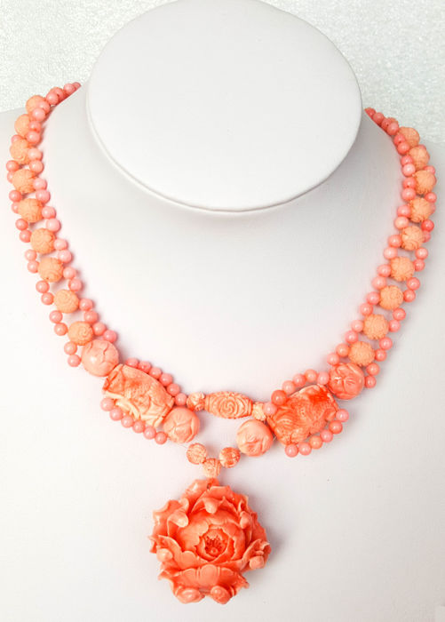 925 silver pink coral carved necklace with flower pendant - 48cm