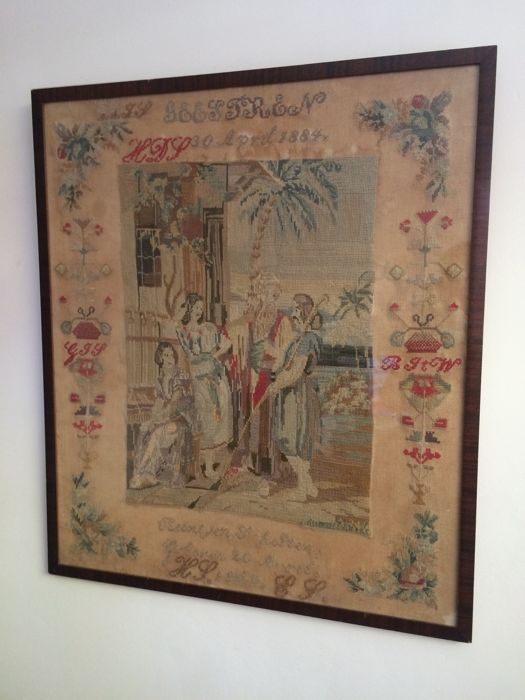 A very colourful large antique sampler made by Reintjen Scholten, Geesteren-Borculo, the Netherlands - dated 1884