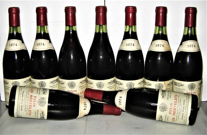 Fixin Les Hervelets 1974 - Domaine Pierre Gelin - Lot of 9 bottles