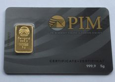 PIM-Nadir: 5 g 999.9/1000 Gold Bar, in a Blister with Certificate and Serial Number