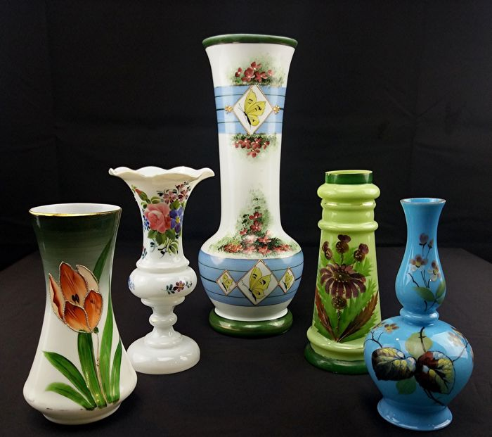 Five Antique Flower Vases Blown Opaline Glass Collectibles Catawiki