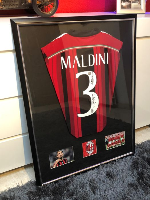 Paolo Maldini Signed AC Milan Adidas Home Shirt Deluxe