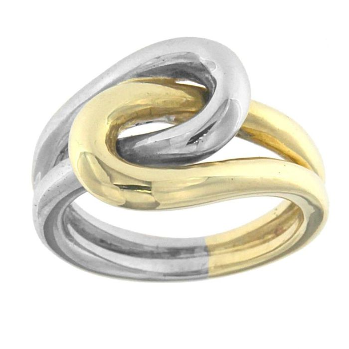 Knotted ring in 18 kt white and yellow gold