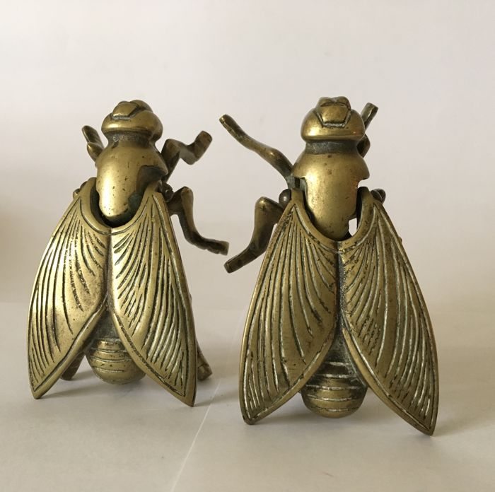 A Pair Brass Fly Trinket Boxes - 1930 - Italy