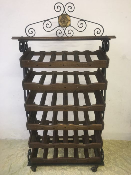 Bottle rack, Wrought Iron and Solid Wood with shelf for liquors (129 x 66 x 30 cm)