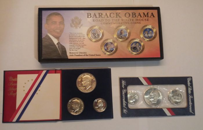 United States - 2 x set 1776/1976 'Bicentennial Silver Proof' silver + Barack Obama set - 25 cents a colour