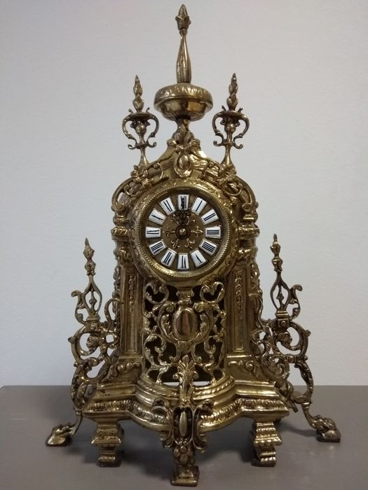 Beautiful mantle clock made in solid bronze with sphere of Junghans - circa 1890 - Spain/Germany