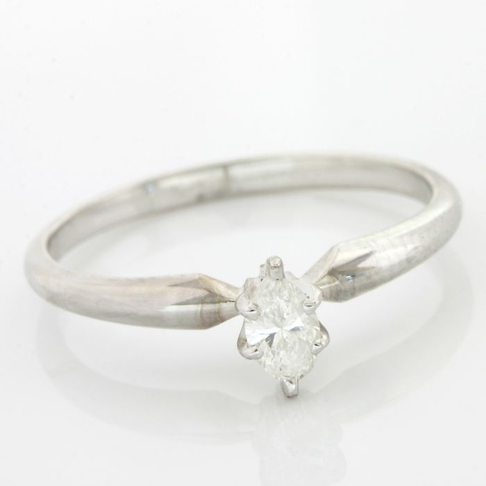 14k White Gold - 0.19 ct Marquise Brilliant Cut I, SI2 Diamond Ring; Size - 7