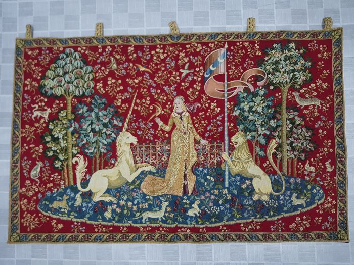 Vintage pictorial tapestry, Italy 65 cm x 103 cm