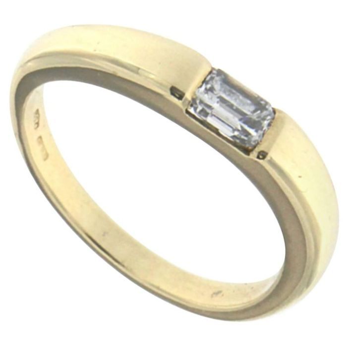 18 kt yellow gold ring with 0.40 ct diamond - size 8.5