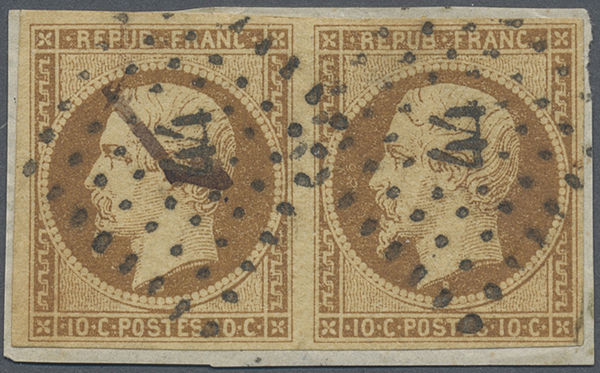 France 1852 - Napoleon III, 10c bistre-brown pair on fragment - Yvert 9a