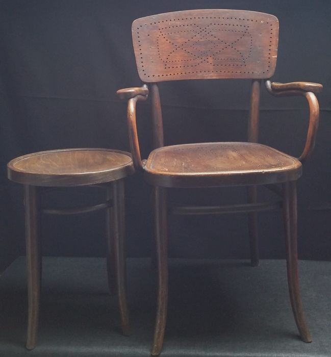 A Thonet Cafe Chair And Stool Ca 1920