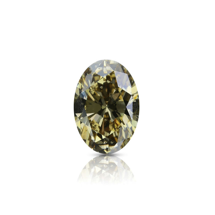1.06 ct. Natural Fancy Dark Brown Yellow Oval Shape diamond, GIA