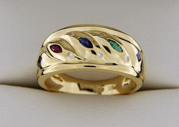 18 kt - Gold Ring - Sapphires - Rubies - Emerald - Diamonds - size: 56