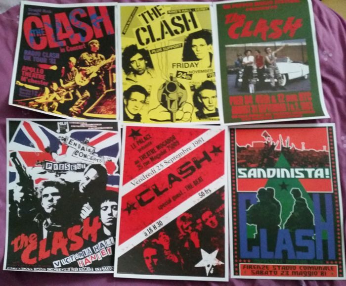 Six fantastic A 3 size( 42 cm x 30 cm approx' )The Clash concert posters( reproduction ).