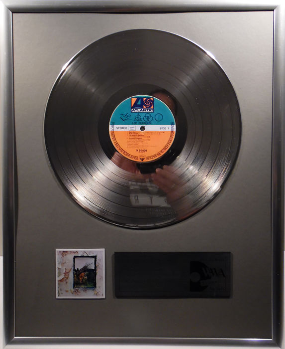 "Led Zeppelin - four 4 - 12"" Atlantic Record platinum plated record by WWA Awards"