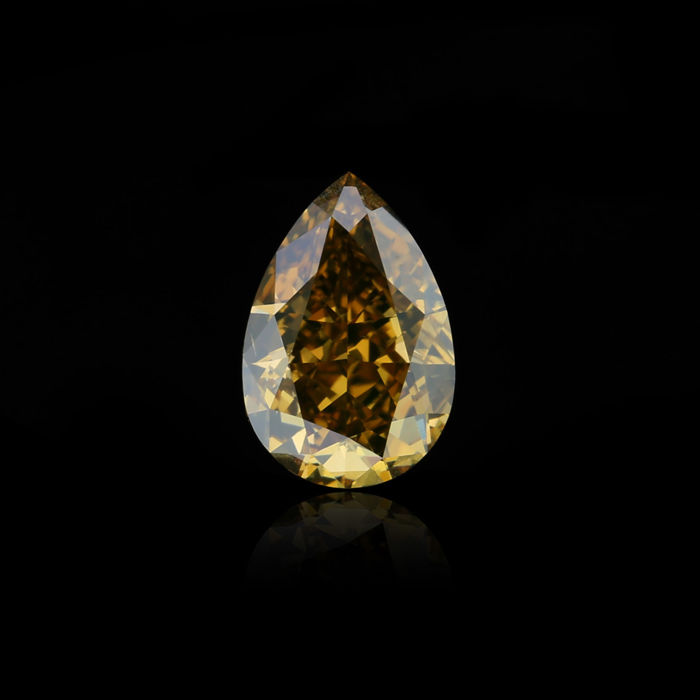 1.02 ct. Natural Fancy Deep Brown Yellow Pear Shape diamond, GIA