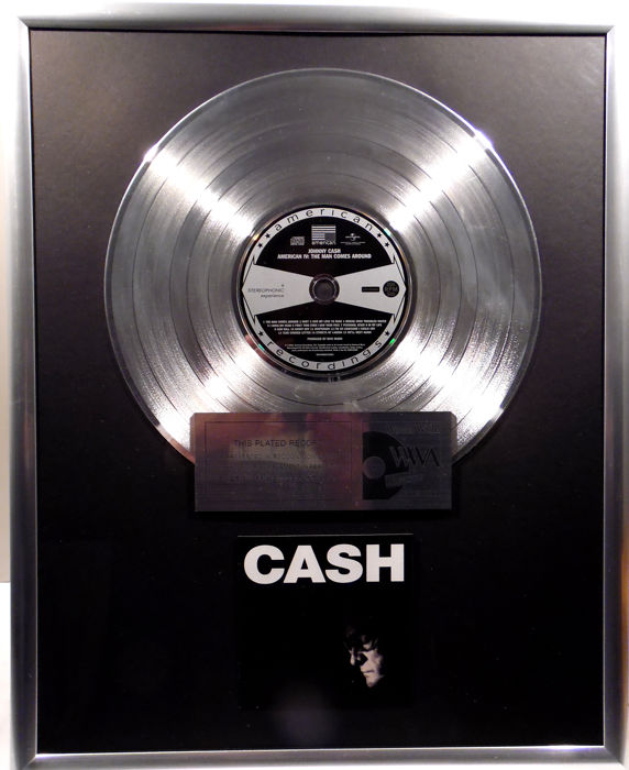 """Johnny Cash - CASH - American IV The Mans comes around -  12"""" Universal Music platinum plated record with CD and cover by WWA gold Awards"""