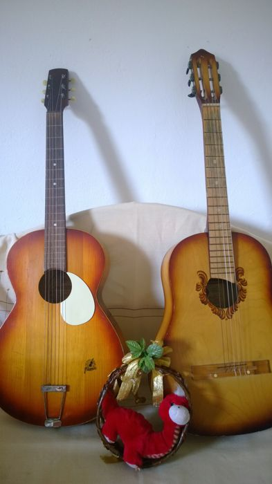 2 guitars - Framus, Bavaria and Russian guitar AKKORD, acoustic guitar, Germany, chitarra western guitar
