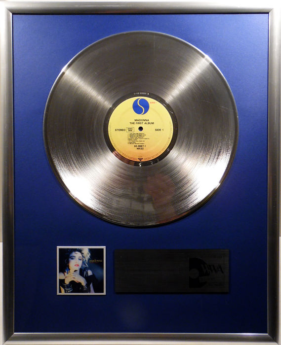 "Madonna - The First Album  - 12"" Sire Record platinum plated record by WWA Awards"