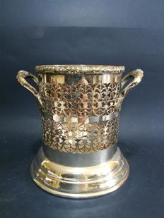 Wine bucket with openwork decoration and handles - silver plated