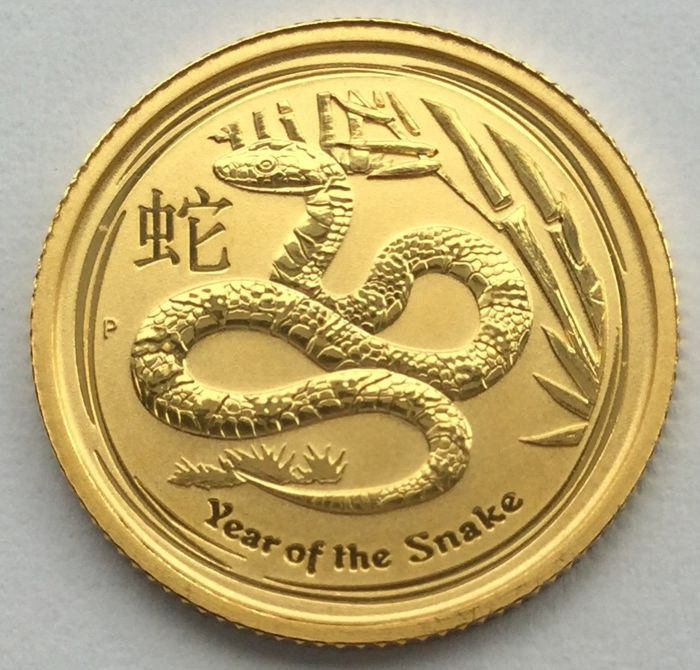 "Australia – 15 dollars 2013 ""Year of the Snake"" – 1/10 oz gold"