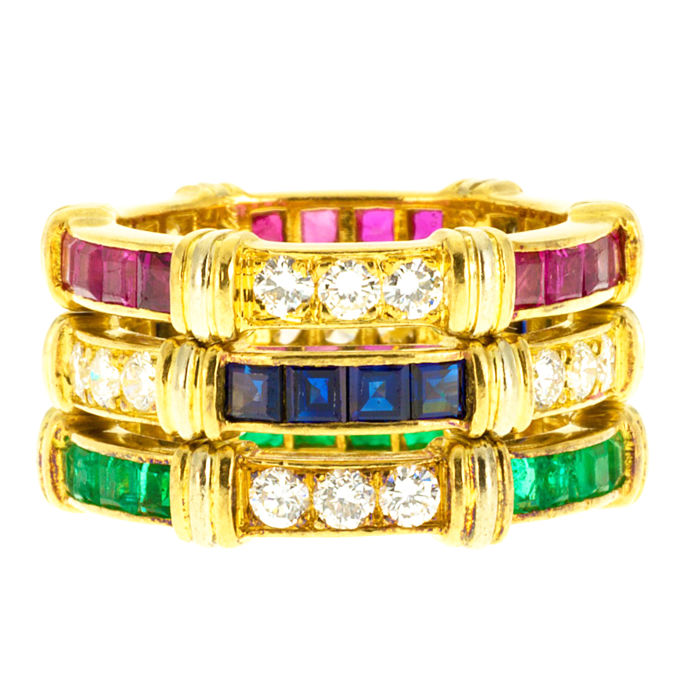 Cartier - Very Rare Diamond Emerald Ruby Sapphire 3 Band Set Yellow And White Gold 18k Lady's Ring