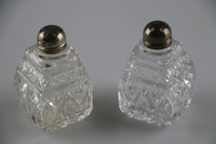 Antique English Cut Crystal Salt Pepper Set With Sterling Silver