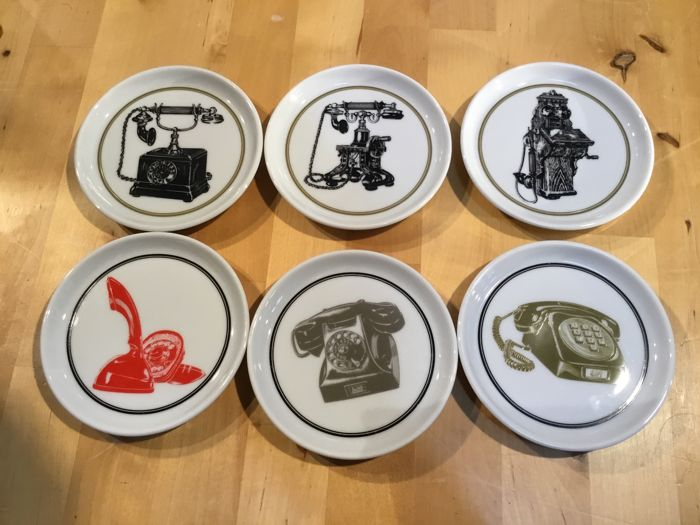Rare set of six advertising coasters by Ericsson Telephones on the occasion of its 50 year anniversary in 1970