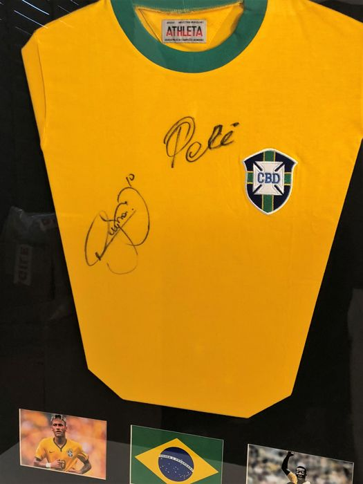 Pelé + Neymar original signed and framed shirt Brazil + Coa