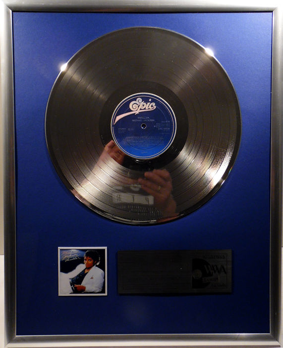 "Michael Jackson - Thriller  - 12"" EMI Record platinum plated record by WWA Awards"