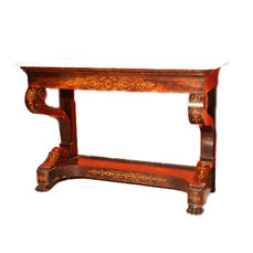 Finely inlaid Louis Philippe console table - mahogany - Italy - circa 1830/35