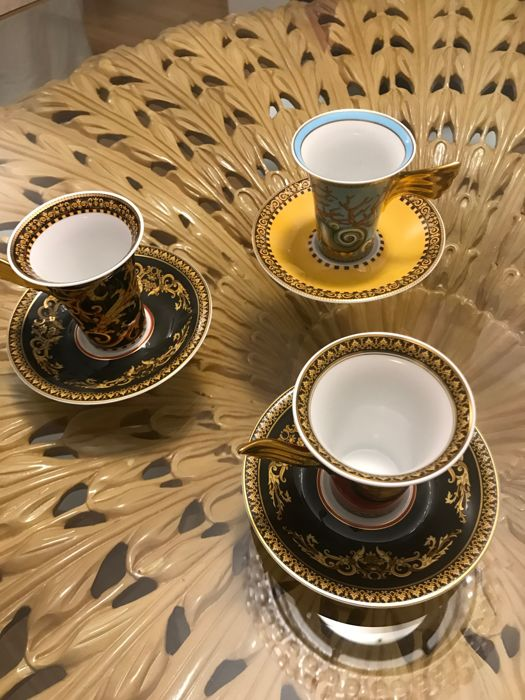 Rosenthal Versace - 3 tall coffee cups with saucers