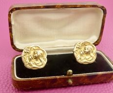 """Original & signed French early 1900s Art Nouveau """"Emile Dropsy 1848-1923"""" 18kt gold vermeil cuff links, No reserve"""