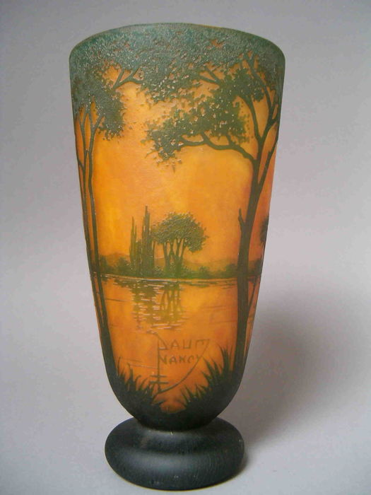 Daum Nancy Cameo Glass Vase With Etched Landscape Decor Catawiki