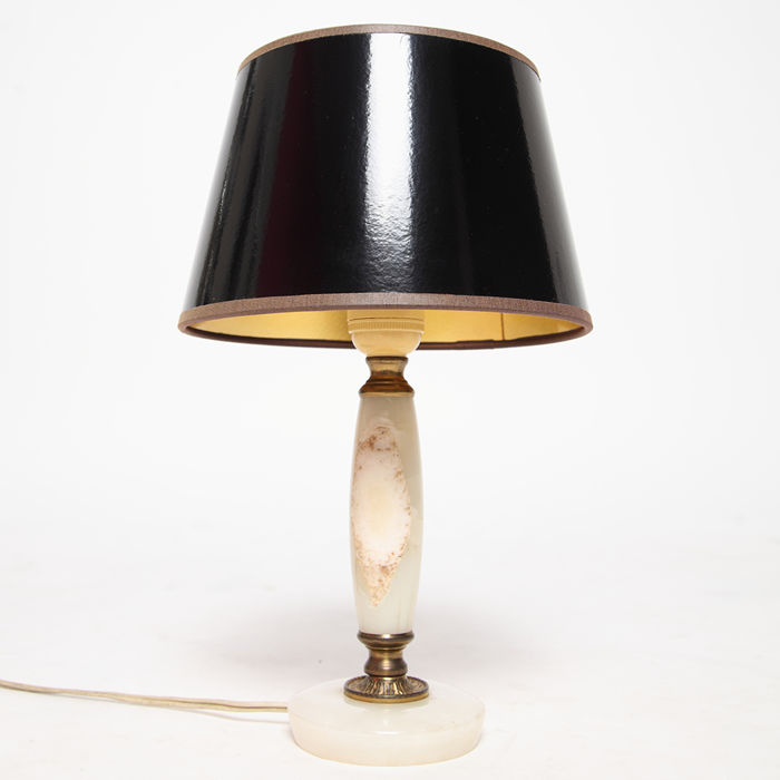 Onyx table lamp with vinyl black with gold lamp shade 1960s catawiki onyx table lamp with vinyl black with gold lamp shade 1960s mozeypictures Images